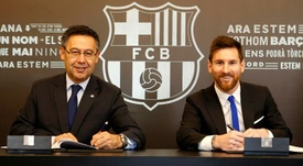 Lionel Messi could sign another new contract at Barca. AFP
