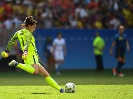 La gardienne américaine Hope Solo face à la Suède aux JO de Rio, le 12 août 2016 à Brasilia. AFP
