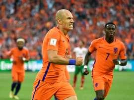 Arjen Robben buteur face à la Bulgarie en qualif pour le Mondial-2018, le 3 septembre 2017. AFP
