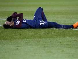 Neymar envolto em polêmica depois do jogo com o Marseille. AFP