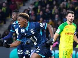 Lebo Mothiba, buteur à Nantes, pour son premier match de Ligue 1. AFP