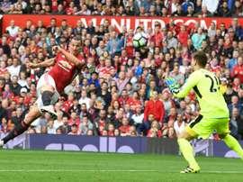 L'attaquant de Manchester United Zlatan Ibrahimovic face à Leicester, le 24 septembre 2016. AFP