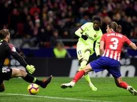 Ousmane Dembélé marque contre l'Atlético . AFP