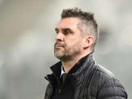 L'entraîneur de Bordeaux Jocelyn Gourvennec suit le match face à Nice en Coupe de la Ligue. AFP