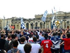 Plus de 2000 supporteurs des Girondins manifestent. AFP