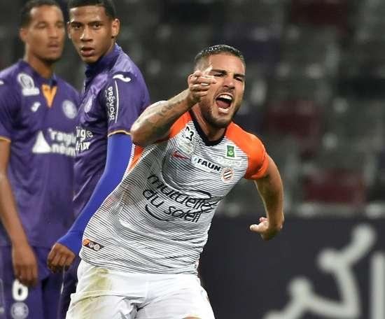Andy Delort exulte après avoir marqué le 2e but de Montpellier à Toulouse. AFP