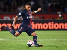 Le défenseur brésilien du PSG Thiago Silva lors dun match contre Saint-Etienne. AFP