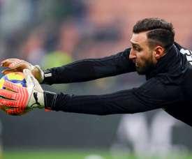 Antonio Donnarumma, lors d'un échauffement avant un match de Serie A . AFP