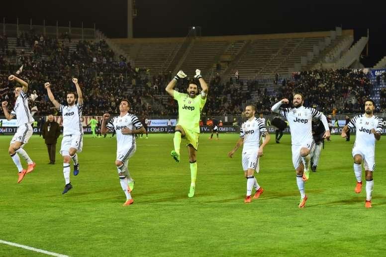 Juventus celebrating their victory against Empoli. AFP