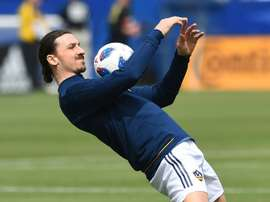 L'attaquant suédois du Los Angeles Galaxy Zlatan Ibrahimovic à l'échauffement avant le match. AFP