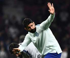 Diego Costa à l'échauffement avant le 8e de finale face à la Juve. AFP