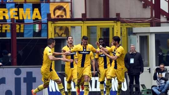 Le club parmesan, alors qu'il évolauiait en Serie A, ici contre l'Inter Milan à San Siro. AFP