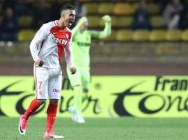 Nabil Dirar exprime sa joie à la fin du match face à Dijon au stade Louis II, le 15 avril 2017. AFP