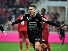 Le Rennais Adrien Hunou exulte après un but contre Dijon en Coupe de la Ligue. AFP