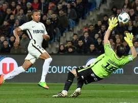 Le Monégasque Kylian Mbappé Lottin, auteur du 2e but de son équipe à Montpellier. AFP