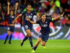 La joie de Shirley Cruz après un but pour le PSG face au Bayern Munich. AFP