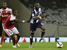 Le Toulousain Tongo Doumbia lors d'un match face à Reims, le 12 septembre 2015 à Toulouse. AFP