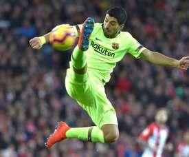 Luis Suarez lors du match nul 0-0 à Bilbao. AFP
