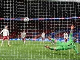 L'Angleterre tenue en échec par ke Danemark. AFP