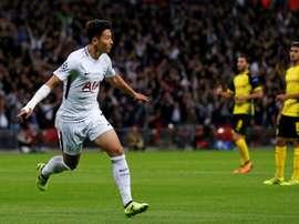 Son Heung-min auteur du premier but de Tottenham à Wembley, le 13 septembre 2017. AFP