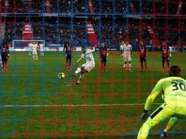 Kylian Mbappé inscrit un penalty face à Caen. AFP