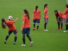 Les joueuses de l'équipe féminine de football de Colombie lors dune séance d'entraînement. AFP