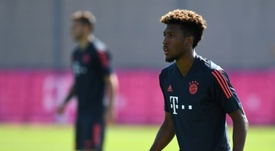 L'ailier français du Bayern, Kingsley Coman, à lentraînement. AFP