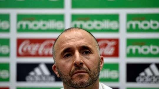 Le sélectionneur de l'Algérie Djamel Belmadi, en conférence de presse le 18 août 2018. AFP