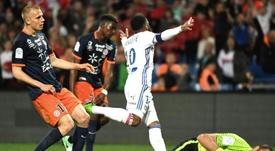 Alexandre Lacazette double buteur pour Lyon à Montpellier, le 14 mai 2017. AFP