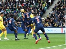 La défense du PSG sincline devant le FC Nantes. AFP