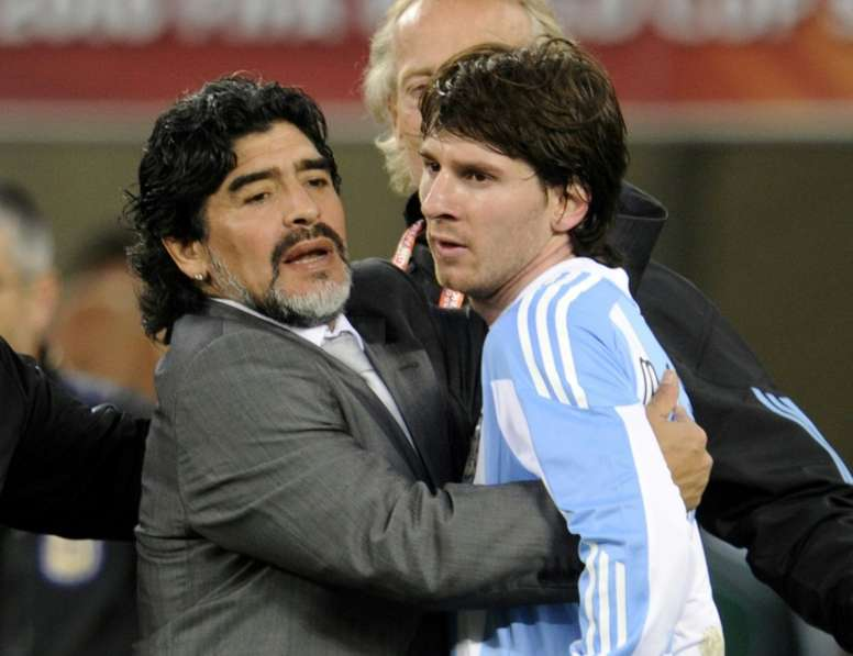 Messi dit adieu à Diego Maradona. afp