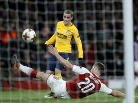 Mustafi could not prevent Griezmann knocking Arsenal out of the Europa League last season. AFP