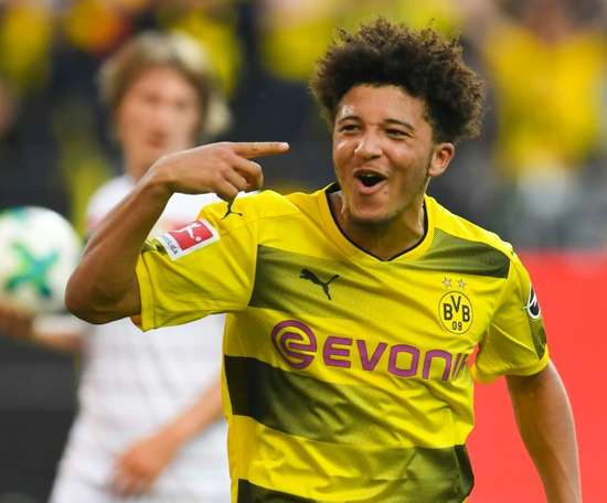 Sancho scored his first senior goal. AFP