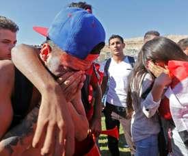 La détresse des supporters syriens à Damas, après lélimination de leur équipe. AFP
