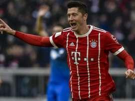 Robert Lewandowski fou de joie après avoir marqué à domicile contre Hoffenheim. AFP