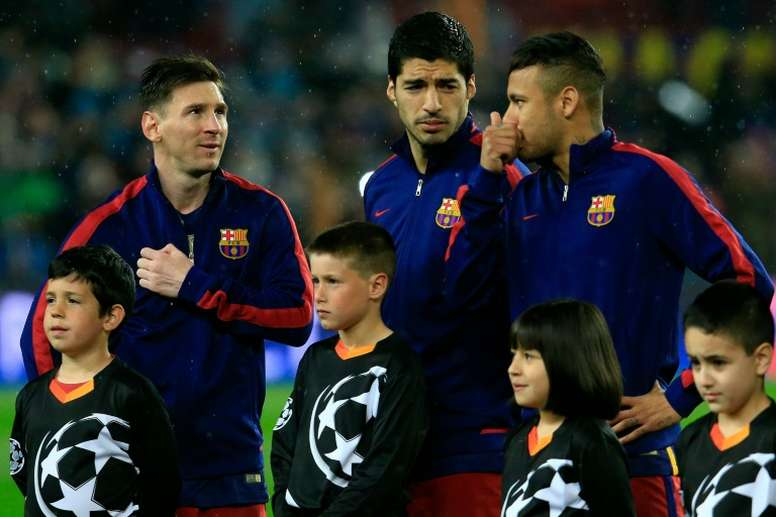 Messi, Suarez and Neymar ahead of a Champions League match. AFP