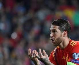 Sergio Ramos lors de la victoire sur la Norvège. AFP