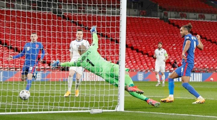 Dominic Calvert-Lewin scored twice as England won 5-0 v San Marino. AFP