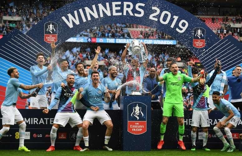 Manchester City, champion de Premier League 2019, au stade Wembley. AFP