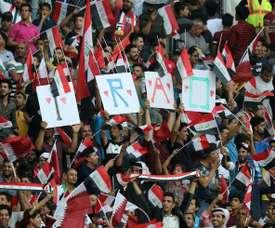 Des supporters irakiens lors dun match face au Qatar. AFP