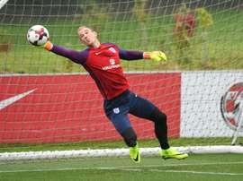 Le gardien Joe Hart lors d'une séance dentraînement avec l'équipe d'Angleterre. AFP