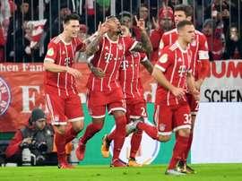 Les joueurs du Bayern se congratulent après un but de Jerome Boateng. AFP