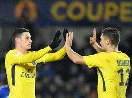 Les joueurs du PSG Julian Draxler et Thomas Meunier. AFP