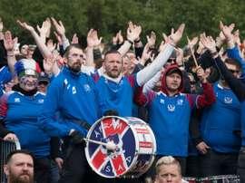 Les supporters islandais et leur fameux clapping lors du match contre la Russie au Mondial-2018. AFP