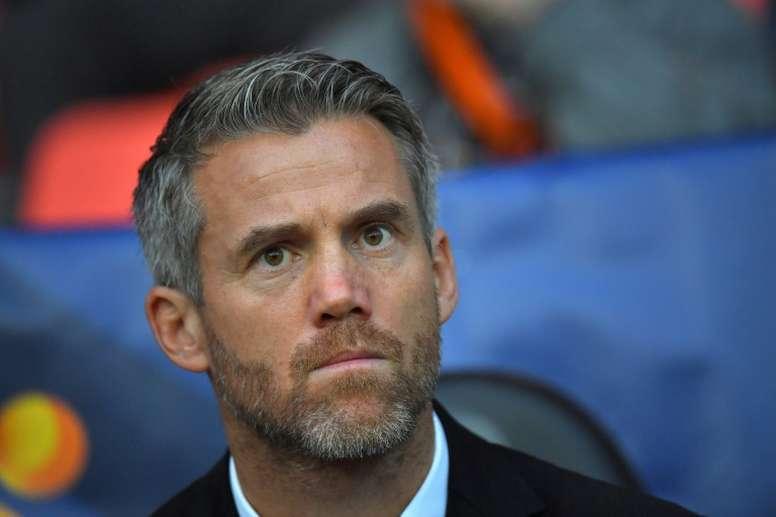 L'entraîneur de Lorient Mickaël Landreau. AFP