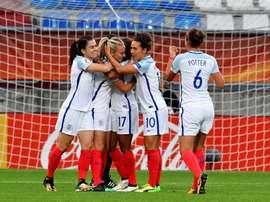 La joie des joueuses de l'Angleterre après un but contre le Portugal dans le groupe D de l'Euro. AFP
