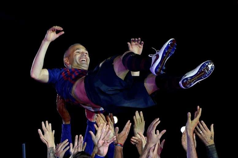 Iniesta habló de 'su' Barça. AFP