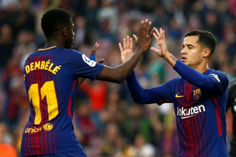 Ousmane Dembélé volvió a mejorar a Coutinho. AFP