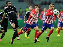 El Atlético necesita que el Qarabag puntúe ante la Roma. AFP
