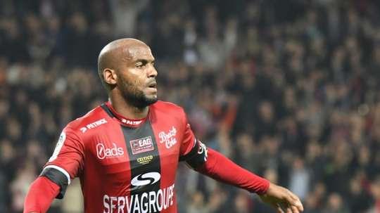 Briand, attaquant de Guingamp le 14 octobre 2017 lors de la réception de Rennes. AFP